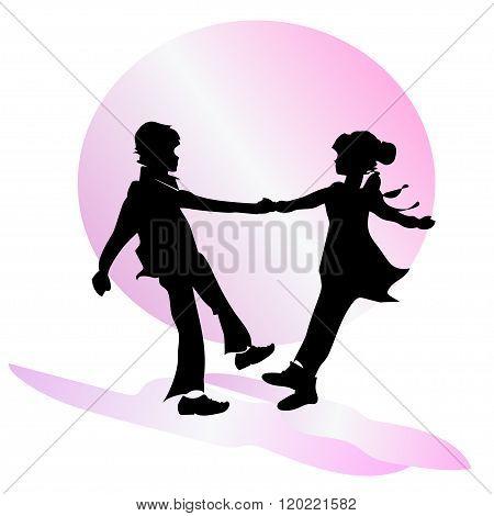 Children's friendship. Boy and girl dancing