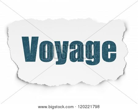 Travel concept: Voyage on Torn Paper background