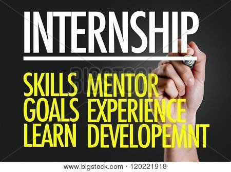 Hand writing the text: Internship