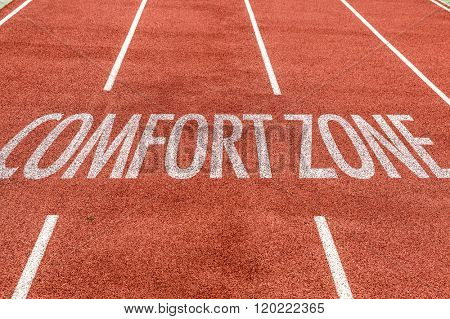 Comfort Zone written on running track