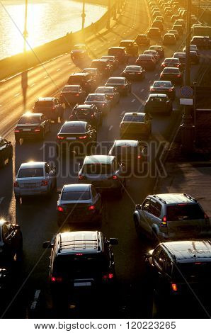 Traffic Jam In Sunset Beams
