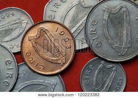 Coins of Ireland. Celtic harp depicted in the Irish pound coins.