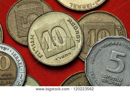 Coins of Israel. Israeli ten agorot coins.