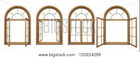 Collection Of Isolated Wooden Arched Windows