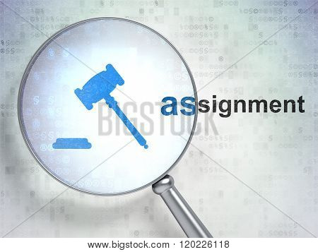 Law concept: Gavel and Assignment with optical glass
