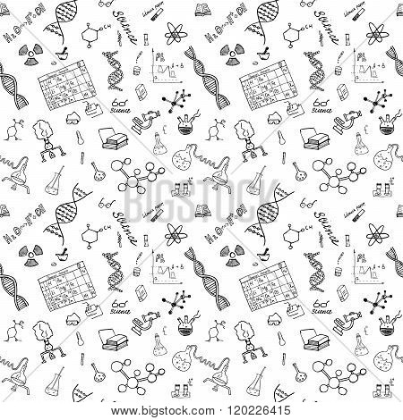 Chemistry And Science Seamless Pattern With Sketch Elements Hand Drawn Doodles Background Vector Ill