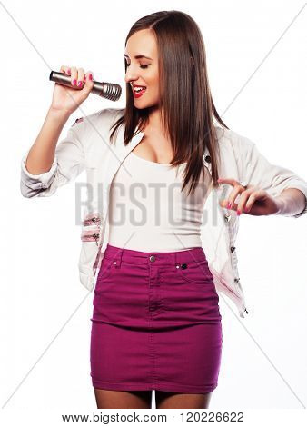 Beauty glamour singer girl portrait. Isolated on white background.