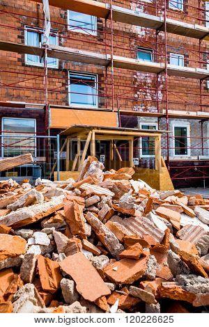 rubble on building site