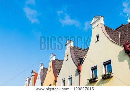 town houses with traditional gabled