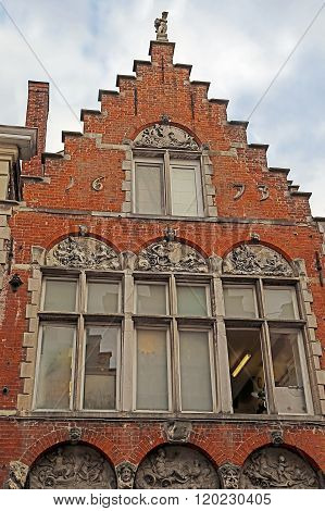 Architectural Facade Detail At One Old Building Placed In Bruges, Belgium