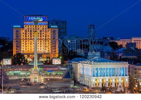 Maidan Nezalezhnosti At Night Before Revolution