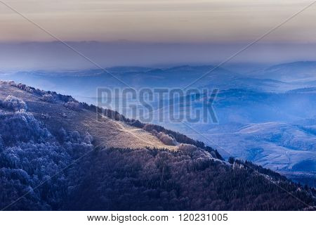 Mountain Range With Colourful Sunset