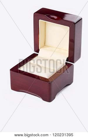 Opened Present Box For Jewerly On White Background..