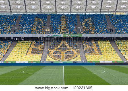Ukraine Emblem On Seats On Stadium