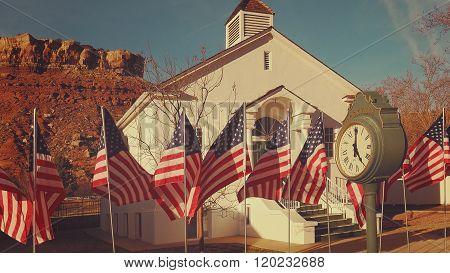 American Flags Flying In Rockville, Utah