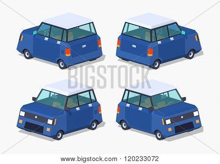 Modern blue hatchback