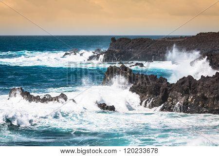 Powerful Waves Of Atlantic Ocean Near Tenerife Coast, Focus On Waves