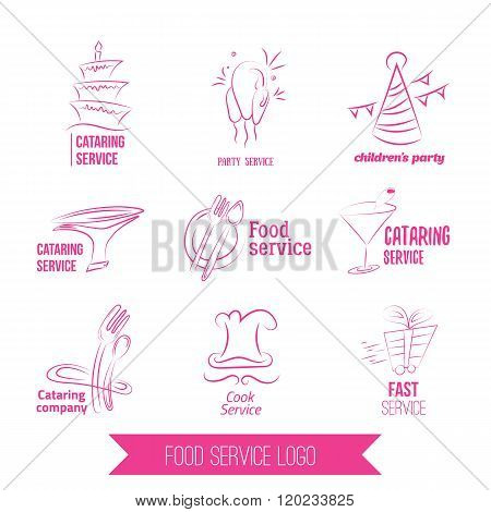 catering service logo. Colorful catering design. Catering, outdoor events, restaurant service, birgd