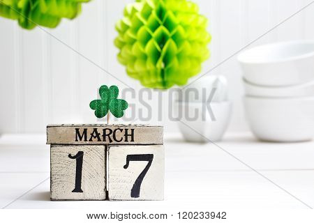 Saint Patricks Day Green Clover With Calendar
