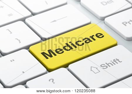 Medicine concept: Medicare on computer keyboard background