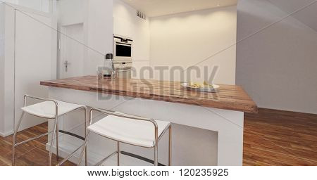 Small stylish compact kitchenette in an apartment or house with center island with stools and fitted appliances. 3d Rendering.