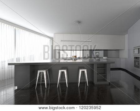 Spacious open-plan modern grey and white fitted kitchen interior with a bar counter with contemporary stools and a full length glass wall or view window with blinds. 3d Rendering.