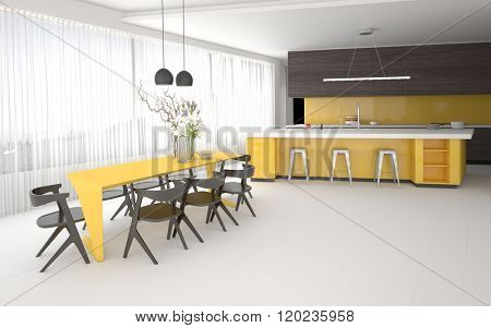 Luxury elegant yellow and grey kitchen and dining room interior with a spacious open plan room with fitted cabinets and appliances, a bar counter and stylish table and chairs. 3d Rendering.