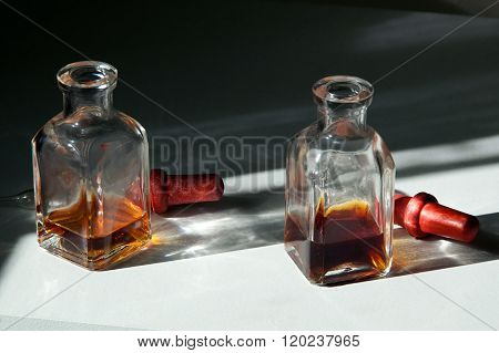 Two Square Eye Dropper Bottles