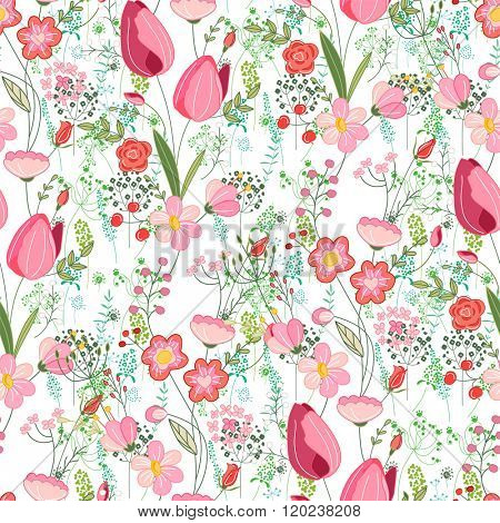 Seamless pattern with stylized cute flowers.  Endless texture for easter and spring design, greeting cards, fabrics, announcements, posters.