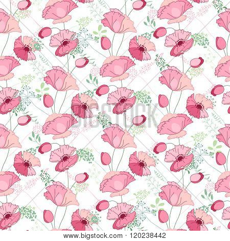 Floral seamless pattern with stylized pink poppies. Endless texture for your design, decoration,  greeting cards, posters,  invitations, advertisement.