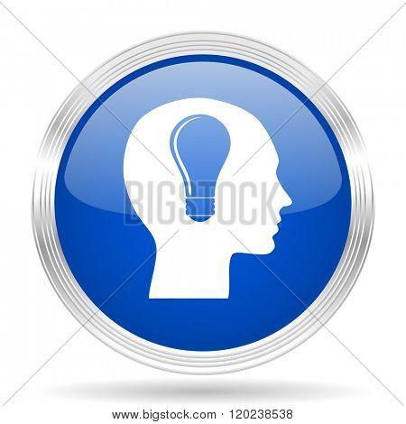 head blue silver metallic chrome web circle glossy icon