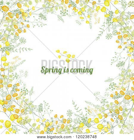 Floral square greeting card with stylized yellow mimosa and phrase