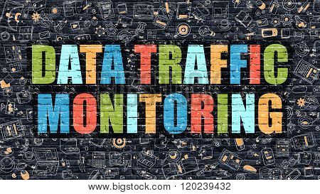 Data Traffic Monitoring on Dark Brick Wall.