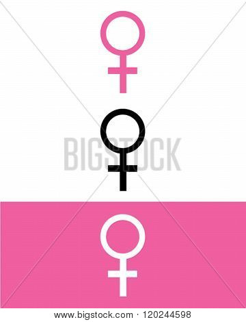 Vector women symbol in pink, black and reverse