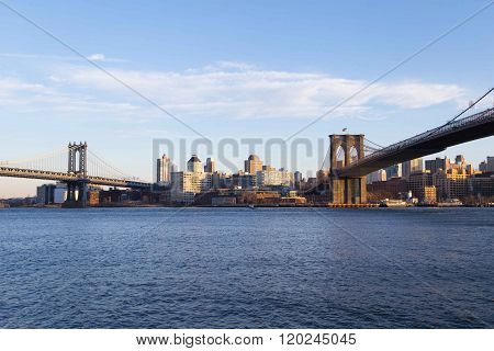 Downtown Brooklyn skyline with Manhattan and Brooklyn Bridge. Photographed in NYC in Feb 2016.