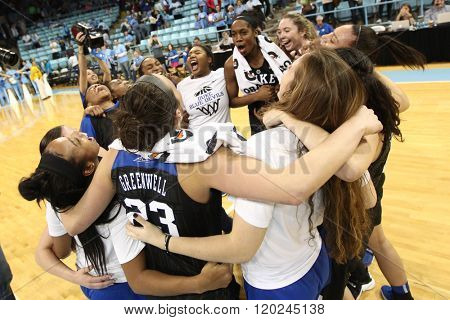 CHAPEL HILL, NC-FEB 28: Duke Blue Devils celebrate after the game against the University of North Carolina Tar Heels on February 28, 2016 at Carmichael Arena in Chapel Hill, North Carolina.