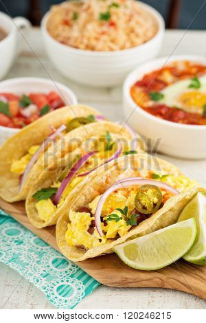 Tacos with  eggs for breakfast