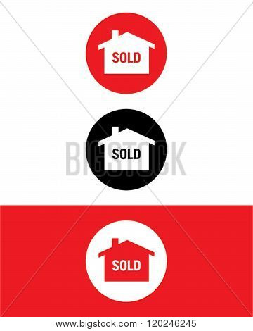 Vector Real Estate 'Sold' Icon Set in Color, Black and Reverse