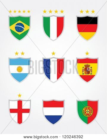 A collection of vector international championship soccer crests