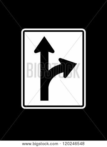 Vector Road Fork Right Sign