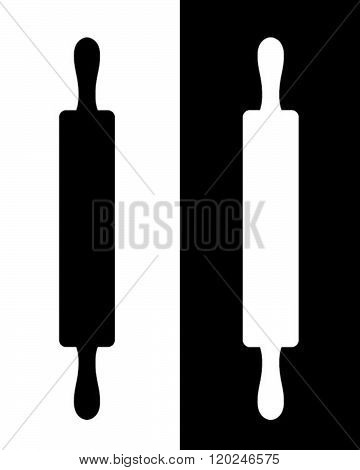 Vector Rolling Pin Graphic in Black and Reverse