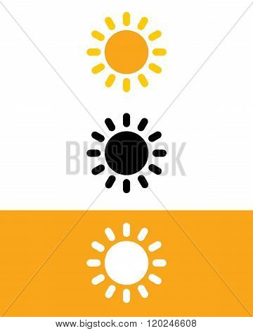 Vector sunshine set in colour, black and reverse