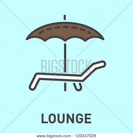 deckchair with an umbrella isolated minimal icon.