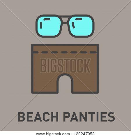 Icon beach shorts and sunglasses