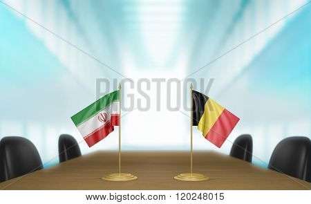 Iran and Belgium relations and trade deal talks 3D rendering