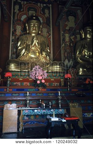 Buddhist Sculpture in a Temple