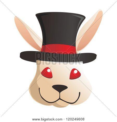 Vector Cartoon Rabbit Head wearing Top Hat