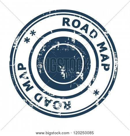 Road map business concept stamp isolated on a white background.