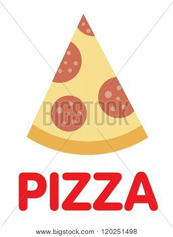 A vector illustration of a pepperoni pizza slice