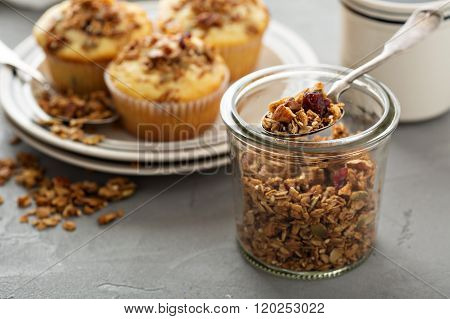 Homemade granola muffins for breakfast